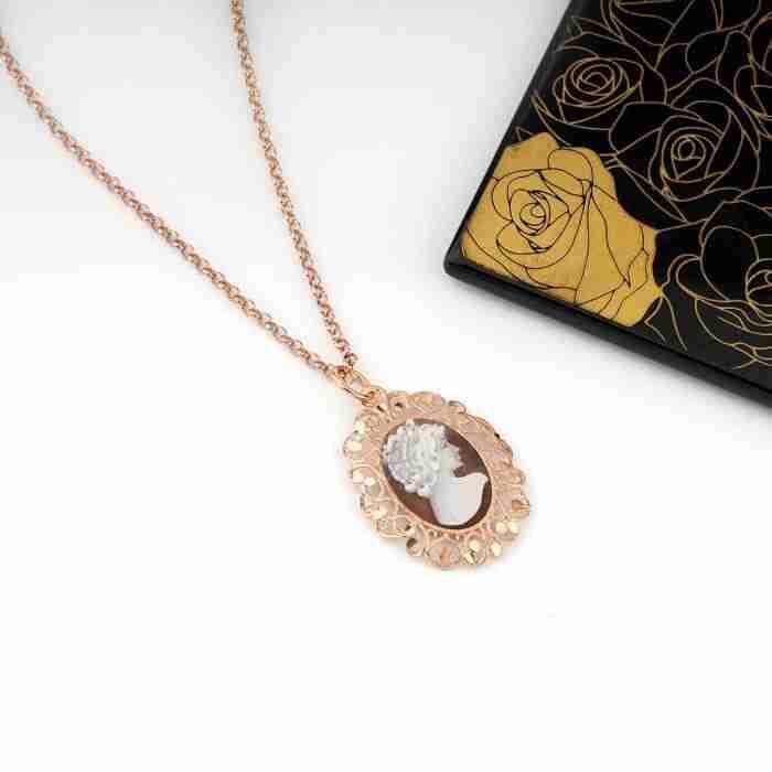 pendente cameo argento e oro rosa